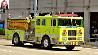 LAFD LAX Engine 51 Responding Air Horns and Sirens!