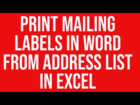 Create print mailing labels in MS-Word from address list in MS-Excel