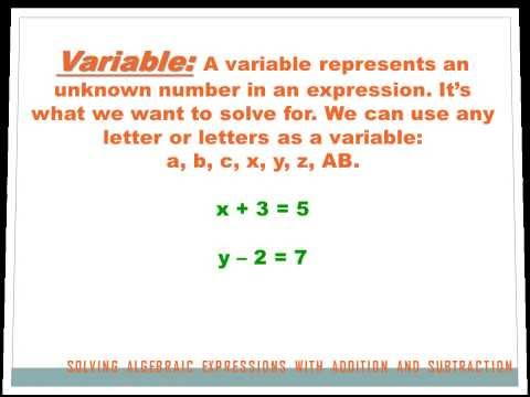 Algebra - Solving Expressions with Addition and Subtraction: 7th grade math