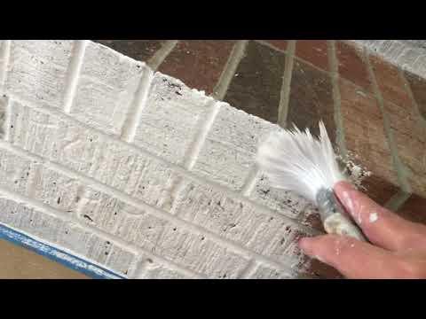 Whitewashing the fireplace 1 of 2