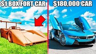 1$ BOX FORT CAR Vs $180,000 CAR!! 📦🚗You Won