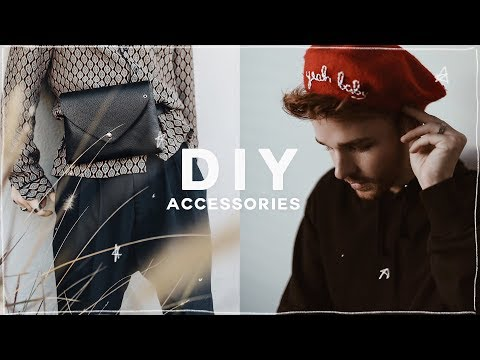 DIY TUMBLR CLOTHING + HACKS (2018) - Belt Bag, Fanny Pack + Embroidered Beret // Imdrewscott