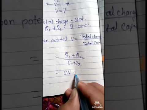 common potential and heat loss due to redistribution of charge in capacitor