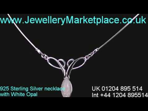www.JewelleryMarketPlace.co.uk Contemporary Silver Necklace with White Opal