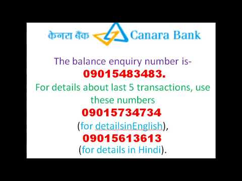 How to know my canara bank account balance toll free