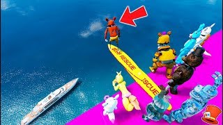 WILL THE ANIMATRONICS SURVIVE THE 999,999 FT DIVING BOARD? (GTA 5 Mods For Kids FNAF RedHatter)