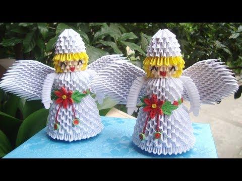 How To Make 3D Origami Christmas Angel | Cómo hacer un ángel de Navidad en 3D Origami