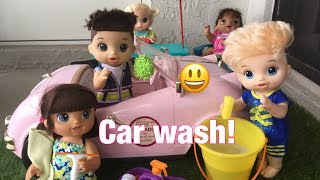 Download BABY ALIVE Brittany Alex Jake and Tommy have a Car wash! Video