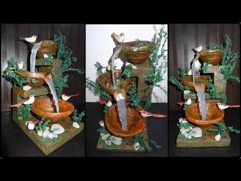 Home Decor:  DIY Tabletop Hot Glue Waterfall Fountain Showpiece | Handmade Newspaper Crafts
