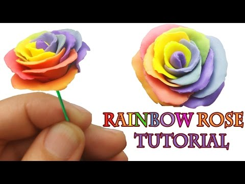 HOW TO MAKE A RAINBOW ROSE  Polymer Clay Tutorial