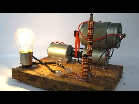 Free energy electricity with DC motor 12V - DIY science projects 2018