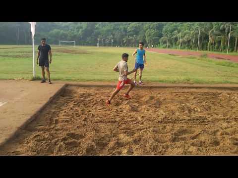 Police training long jump