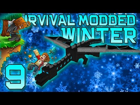 Minecraft: Modded Winter Survival Let's Play w/Mitch! Ep. 9 - SNOWBALL CANNON VS ENDER DRAGON!