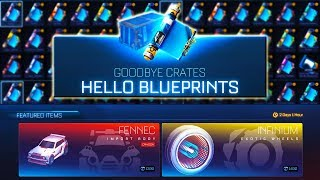 USING CREDITS TO BUY FROM THE ITEM SHOP IN ROCKET LEAGUE!   First Look at the NEW BLUEPRINT UPDATE!