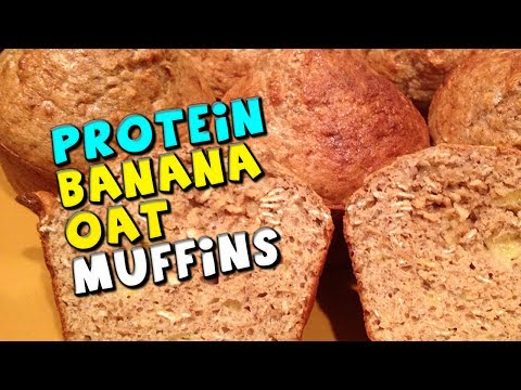 PROTEIN Banana Oat Muffins Recipe (High Fiber/Protein!)