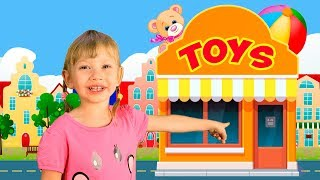 Let's go shopping song for children with Alena and Mom