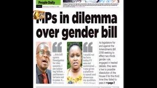 #K24Alfajiri Newspaper Review:  MPs in dilemma over Gender Bill