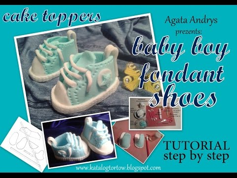 HOW TO MAKE fondant CONVERSE baby boy shoes - cake topper decorating TUTORIAL step by step