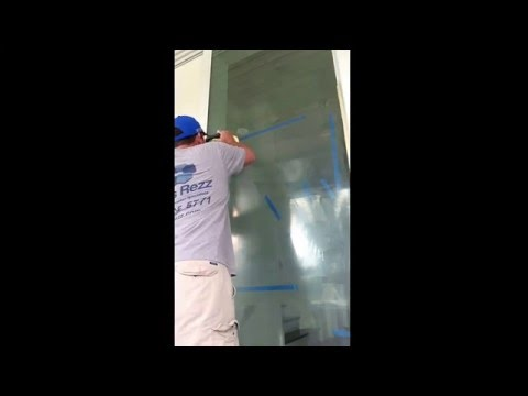 Glass scratch removal on impact resistant sliding door. #GlassRezz #Scratchremoval