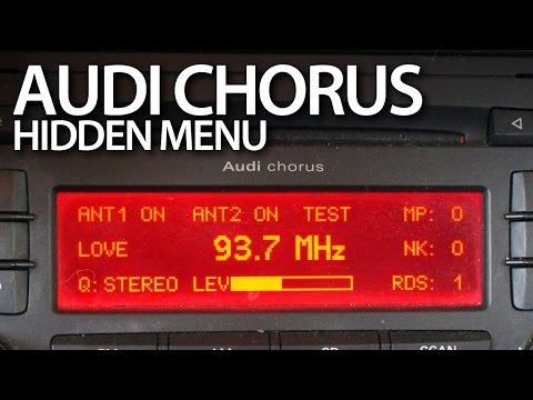 Audi A3 8P Chorus radio hidden menu, service mode