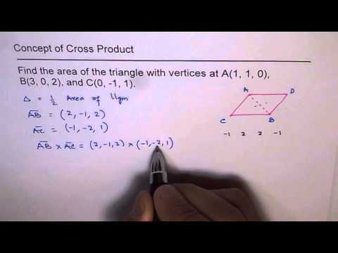 Area of Triangle with three vertices using Vector Cross Product