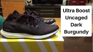 b87e39a65 Adidas Ultra Boost Uncaged Dark Burgundy Unboxing   On Feet Review