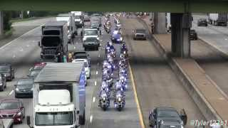 (HD) Lance Cpl. Squire Skip Wells  procession on Interstate 75 from airport
