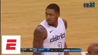 Bradley Beal angry after taking flagrant foul to head from Kyle Lowry | ESPN
