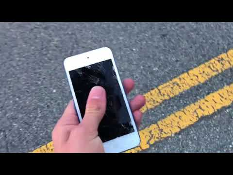 What happens if you run over an iPod Touch with a gas bike?!