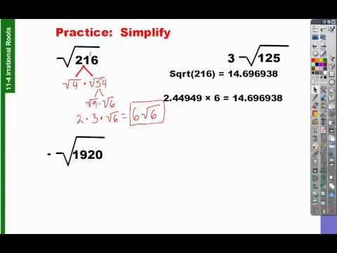 11-4 how to find simplest radical form