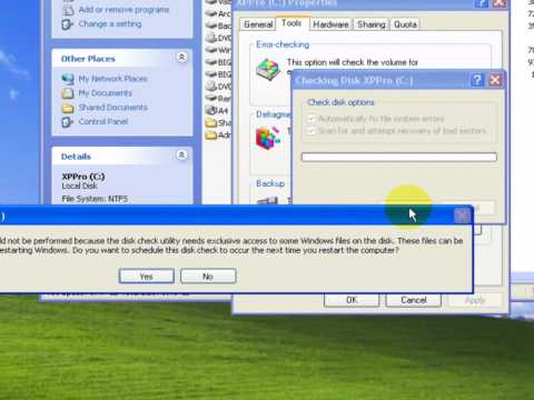 Check disk step-by-step for Windows XP