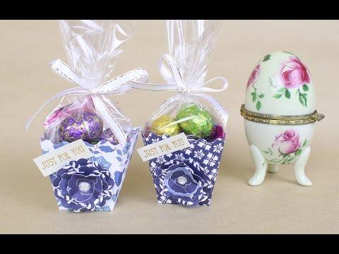 Creative Popcorn gift favour box template hack using porcelain Easter blue cardstock pattern
