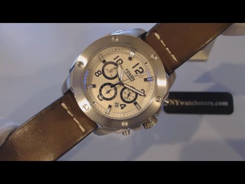 Men's Fossil Machine Chronograph Leather Strap Watch FS4929