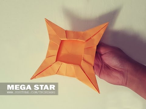 ORIGAMI BOOMERANG for kids: How to make an Origami Star that FLIES BACK | Mega Star