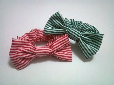 DIY : #13 Rubber Band Hair Bow (Using Fabric) ♥