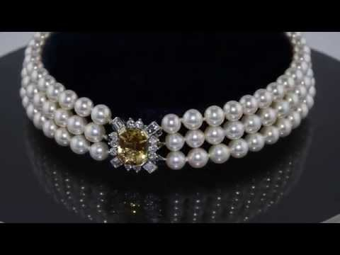 Exquisite Three Strand Pearl Choker with Topaz and Diamond Clasp in Fitted Garrard Box M310