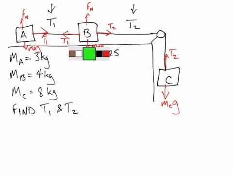 phy11 hanging mass + 2 mass on table with friction
