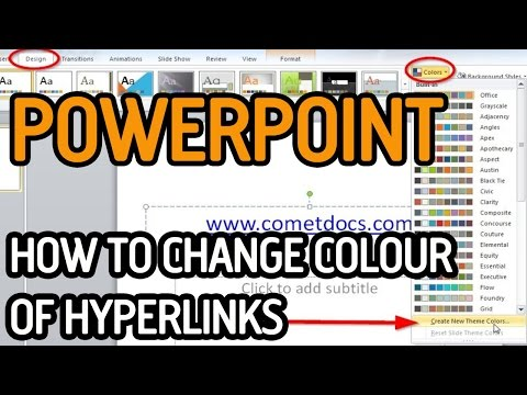 HOW TO CHANGE THE COLOUR OF HYPERLINKS IN MICROSOFT POWERPOINT TUTORIAL