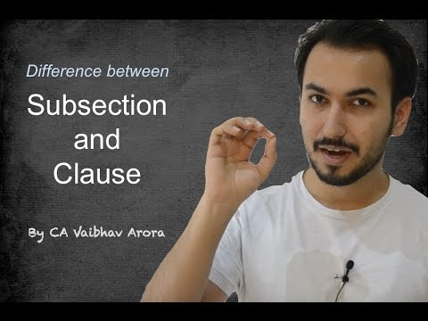 CA - Difference between Subsection & Clause (Law & Taxation) (Hindi)