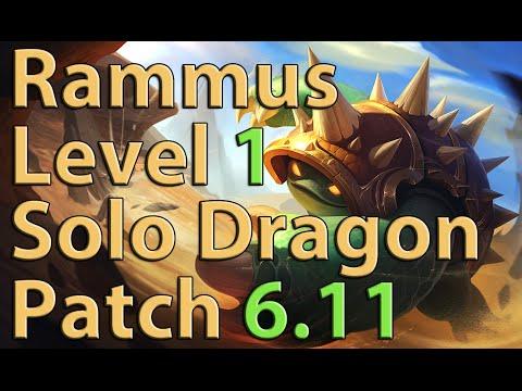 League of Legends: Rammus Level 1 Solo Dragon Season 6 (Patch 6.11)