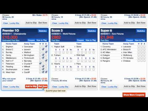 Making selections on The Football Pools website