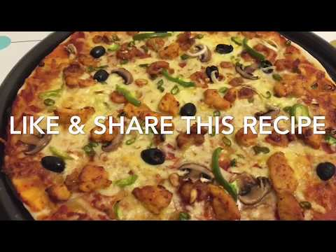 Home made pizza recipe/ how to make chicken tikka pizza at home