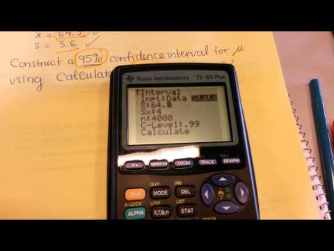 Finding T-Interval using TI-83 Plus