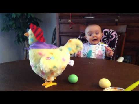 Baby's shocked reaction to an Easter hen laying eggs -