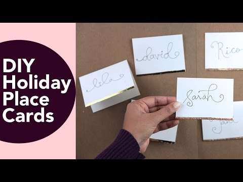 Place Cards,  Holiday or Wedding DIY with gold foil or glitter