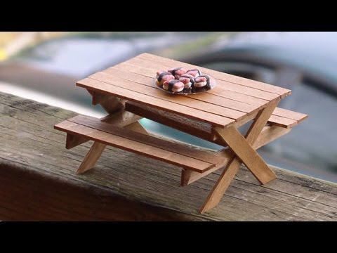 DIY Picnic Table and Bench made out of popsicle sticks -  dollhouse miniatures