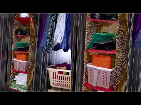 DIY Wardrobe Organizer from Old Clothes - Wardrobe organization idea