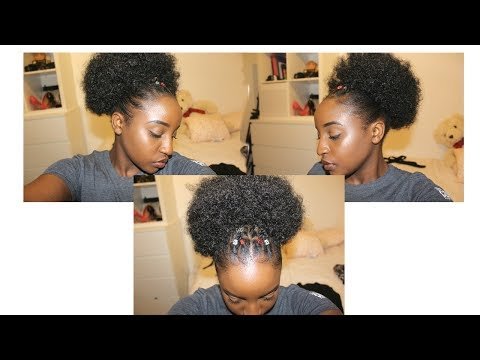 CUTE HairStyle For SHORT 4c/b/a NATURAL HAIR || with FAUX Drawstring Puff