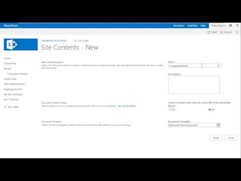 Creating a Library in SharePoint 2013