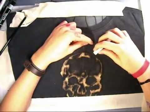 skull tshirt drawn with bleach